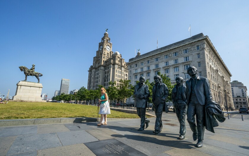 Statues of the Beatles in Liverpool, England