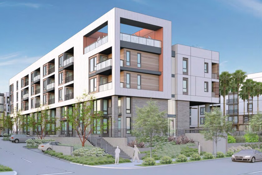 The Witt Mission Valley calls for 277 residential units split between 22 studio apartments, 141 one-bedroom apartments, 104 two-bedroom apartments, and 10 residential units with commercial shops below.