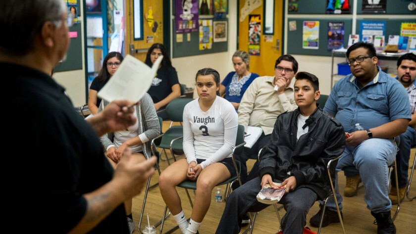 "Luis Rodriguez, author of ""Always Running"" and the poet laureate of Los Angeles, speaks at the Pacoima Public Library."