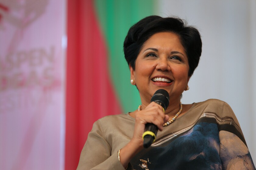 Indra Nooyi, chairman and chief executive officer of PepsiCo., speaks during the Aspen Ideas Festival in Aspen, Colo. She spoke about the struggle to balance work life and home life.