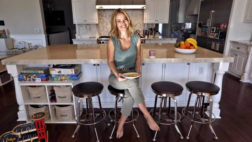 The TV personality's London kitchen was tiny, but the one in her Pacific Palisades home is big enoug