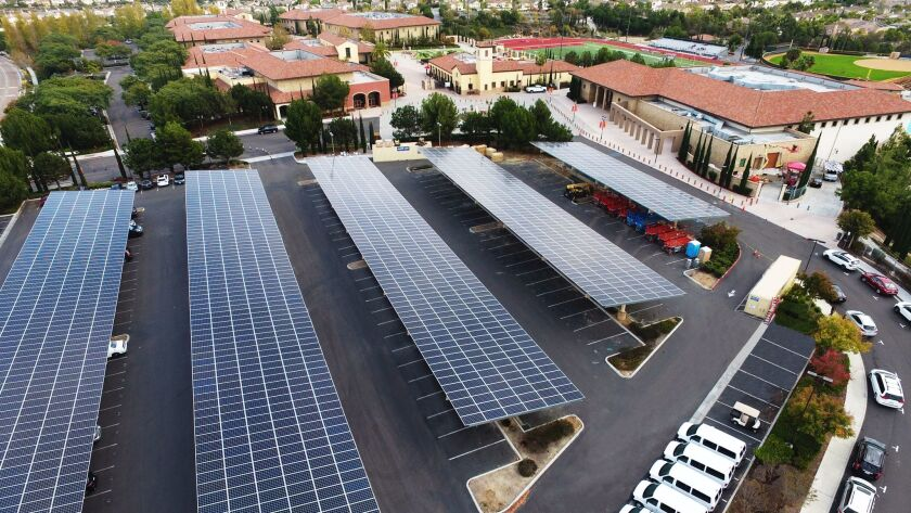 The 1.1 megawatt system at Cathedral Catholic High School.