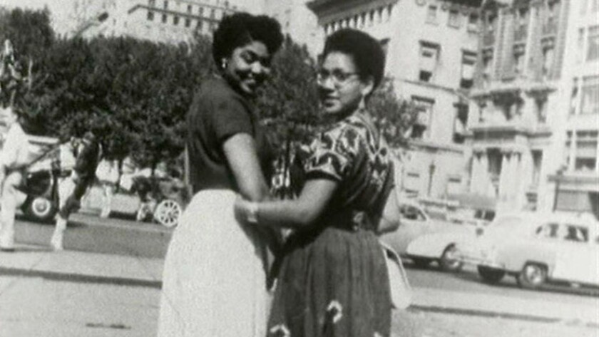 "(L-R)- A photograph of Audre Lorde (right) and friend, New York City, circa 1950s in a scene from ""B"