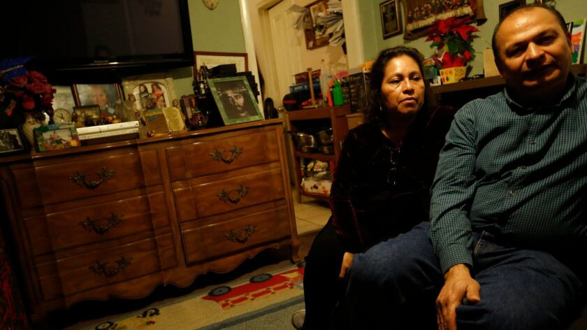 LOS ANGELES, CA - JANUARY 10, 2018 -- Orlando Zepeda, right, and his wife Lorena Zepeda, from El Sal