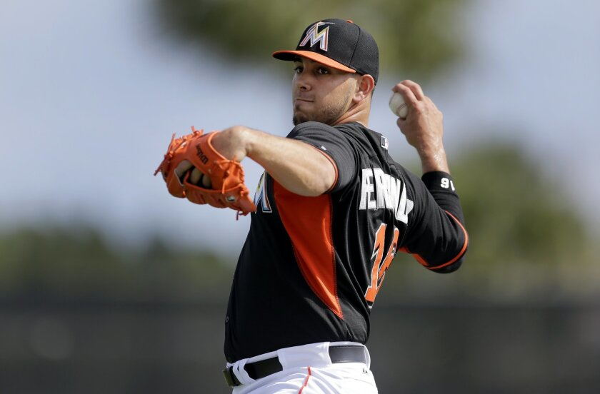 FILE- In this March 1, 2015, file photo, Miami Marlins pitcher Jose Fernandez warms up during spring training baseball practice in Jupiter, Fla. Fernandez is set to face hitter for the first time since having Tommy John surgery nearly a year ago. He hopes to throw 15 pitches in the session at Miami