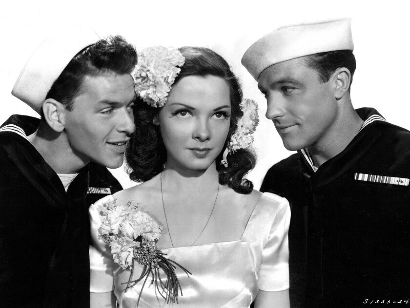 """Kathryn Grayson with Frank Sinatra,left, and Gene Kelly in """"Anchors Aweigh."""""""