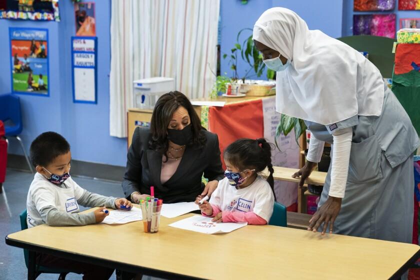 Vice President Kamala Harris talks with students