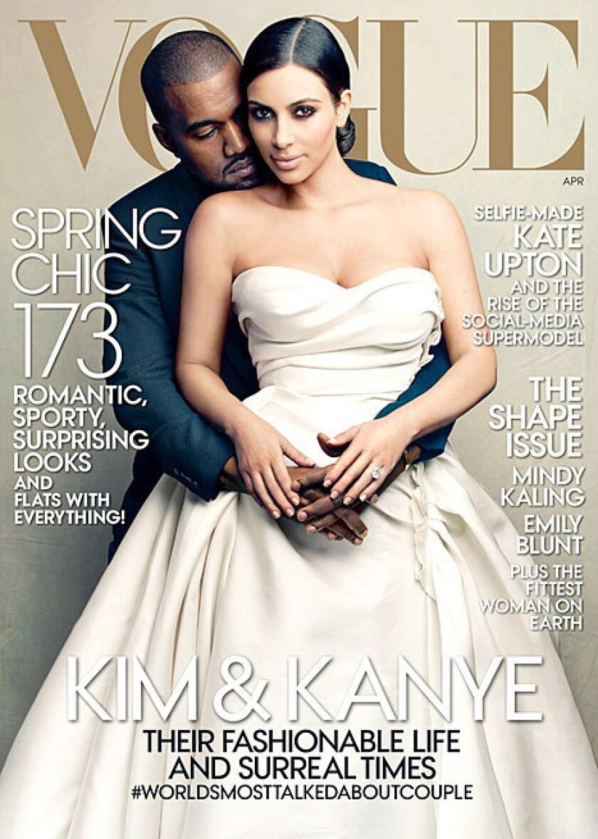 Kim Kardashian and Kanye West on Vogue cover