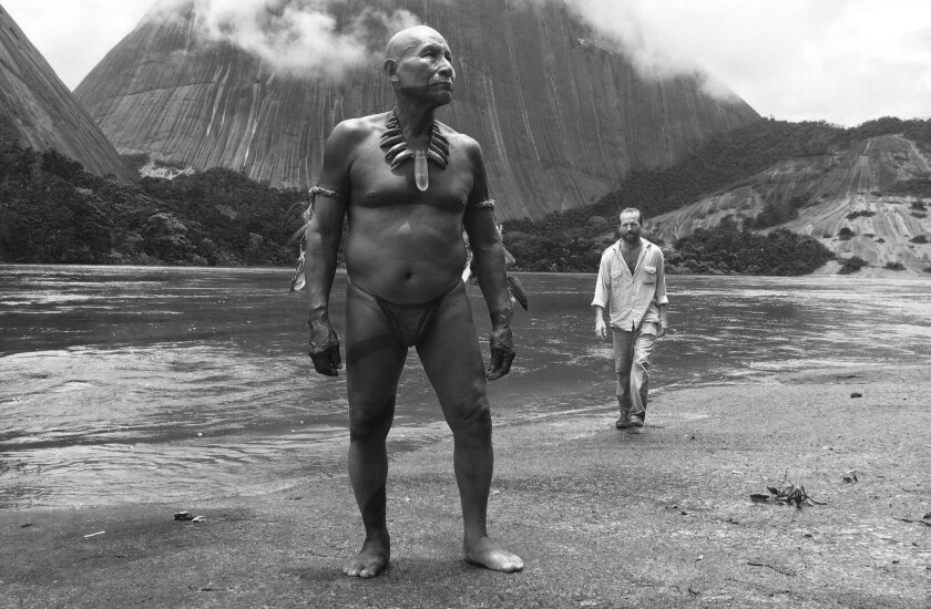 "Antonio Bolivar Salvador (left) as old Karamakate and Brionne Davis as the young explorer Evan in a scene from ""Embrace the Serpent."""
