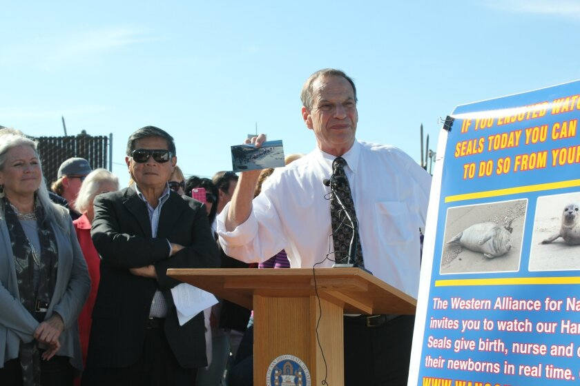 Mayor Filner addresses a crowd gathered at the Children's Pool earlier this year as the Seal Cam is unveiled. Pat Sherman photos