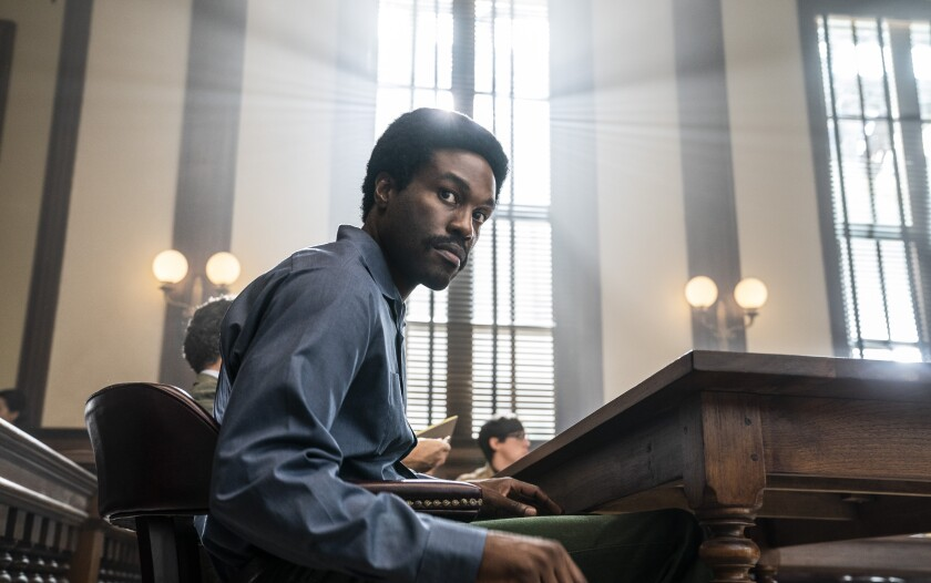 "Yahya Abdul-Mateen II as Bobby Seale in ""The Trial of the Chicago 7."""