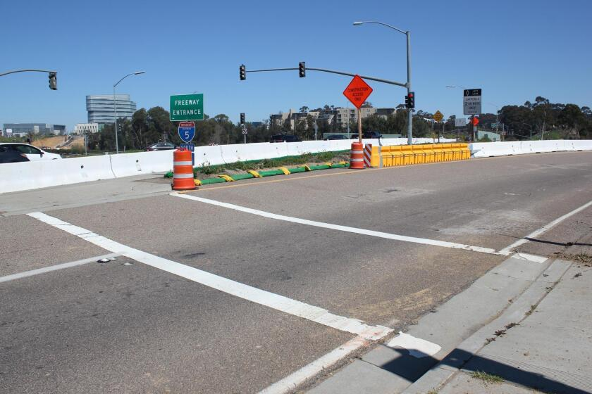 """This La Jolla Village Drive and I-5 south off ramp intersection is listed by a City of San Diego report as among the """"15 Most Dangerous"""" intersections in San Diego."""
