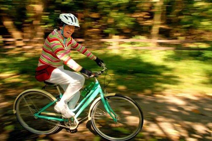 """<b>FIT AS A FIDDLE:</b> Bonny Sanfield, 71, pedals happily during a group ride of the """"Old Spokes"""" in Valley Forge, Pa."""