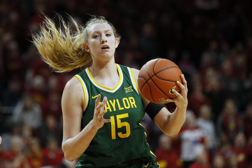 Baylor forward Lauren Cox catches a pass during a game against Iowa State on March 8, 2020, in Ames, Iowa.