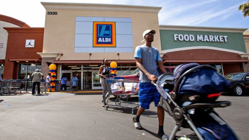 INGLEWOOD, CA - APRIL 21, 2016: The Inglewood Aldi food market was one of 10 locations which held gr