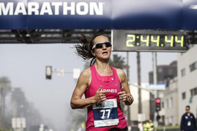 Despite modest expectations, Julia Budniak is third among women in L.A. Marathon