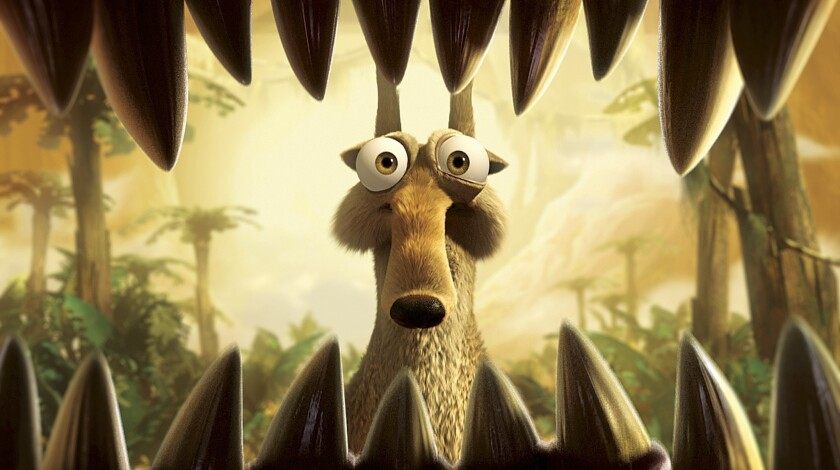 In this film publicity image released by 20th Century Fox, Scrat once again finds himself in harm's