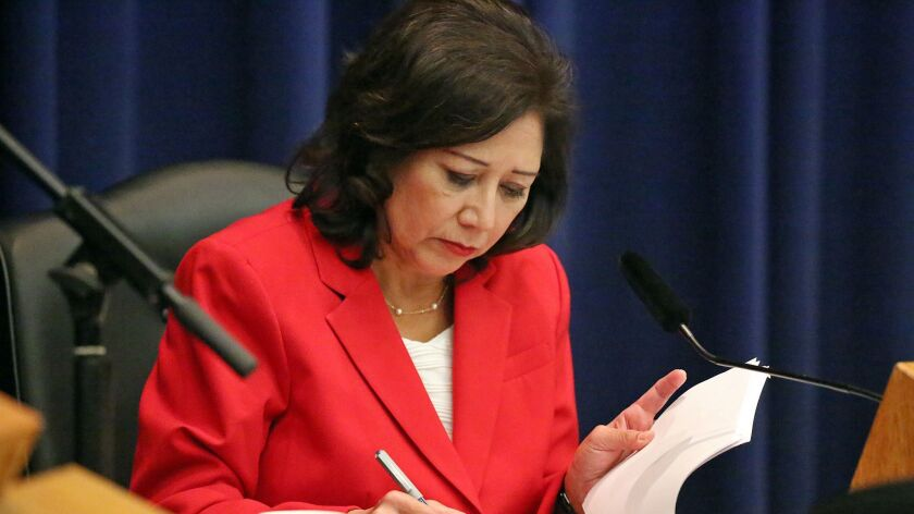 Los Angeles County Supervisor Hilda Solis, shown in 2015, requested funding in next year's budget to supplement and expand the public defender's immigration unit.