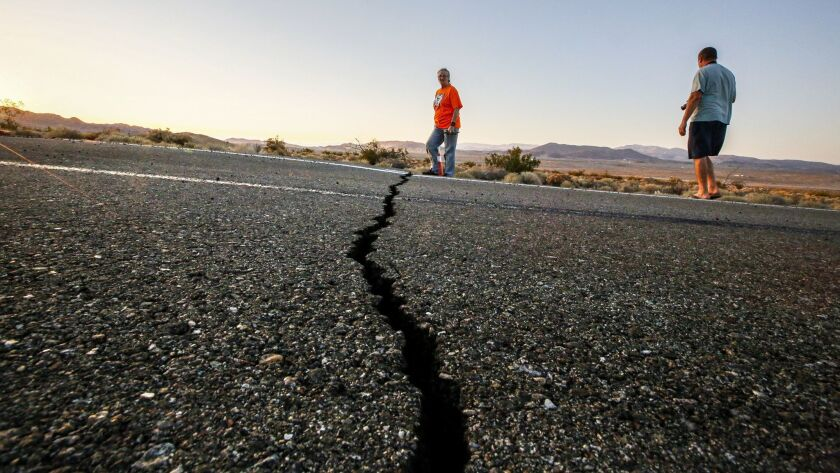 Geologists, tourists, students and others traveled from near and far to visit the surface ruptures crossing Highway 178 caused by Thursday's 6.4 and Friday's 7.1 earthquakes.