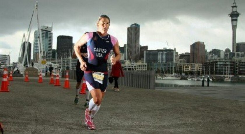 Triathlete Tanja Canter runs at the World Championships in Auckland, New Zealand.