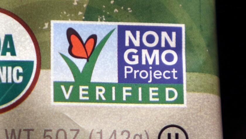 A package label identifies a food product that does not contain genetically modified ingredients.