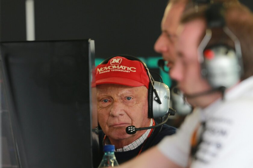 Formula One veteran and three times F1 world champion, Niki Lauda, from Austria,  sits inside the pits of the Mercedes team during the third practice session for the Formula One Mexico Grand Prix auto race at the Hermanos Rodriguez racetrack in Mexico City, Saturday, Oct. 31, 2015. (AP Photo/Christ