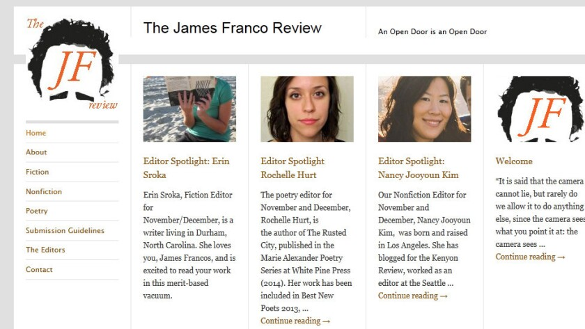 "A screenshot of the new literary journal ""The James Franco Review"" (not associated with James Franco)."