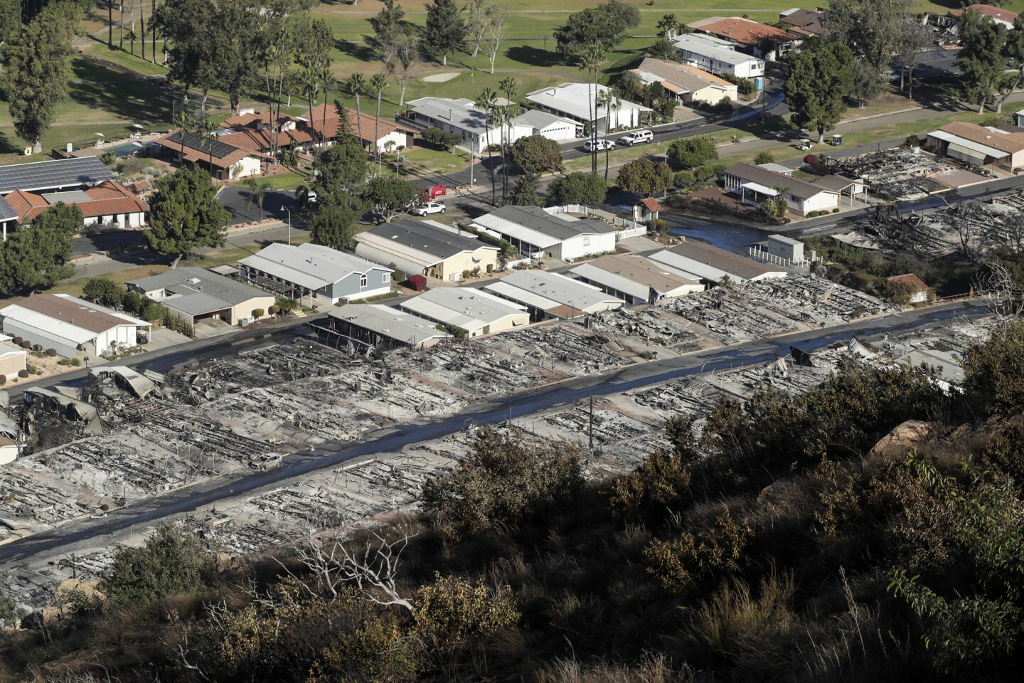 A view of the Rancho Monserate Country Club community, where many homes were burned to ground when the Lilac Fire swept through Bonsall.