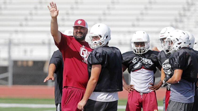 Ocean View High football coach Luis Nuñez, shown during a practice in 2018, is hopeful that the season will begin on time this fall.