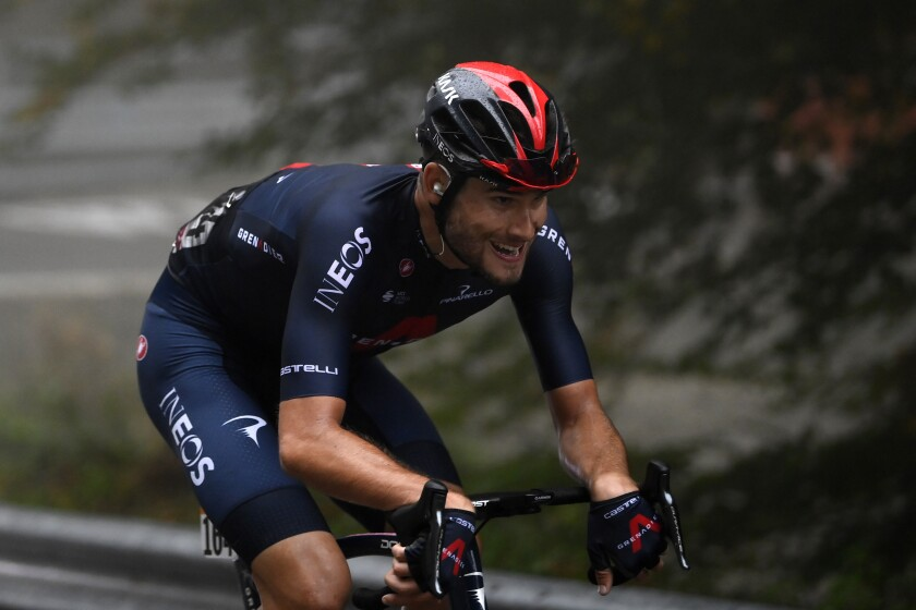 Filippo Ganna pedals on his way to winning the fifth stage of the Giro D'Italia, tour of Italy cycling race, from Mileto to Camigliatello Silano, Italy, Wednesday, Oct. 7, 2020. (Fabio Ferrari/LaPresse via AP)