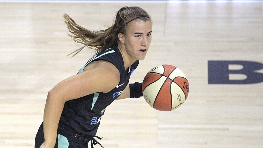 New York Liberty guard Sabrina Ionescu pushes the ball up the court against the Seattle Storm on July 25 in Bradenton, Fla.