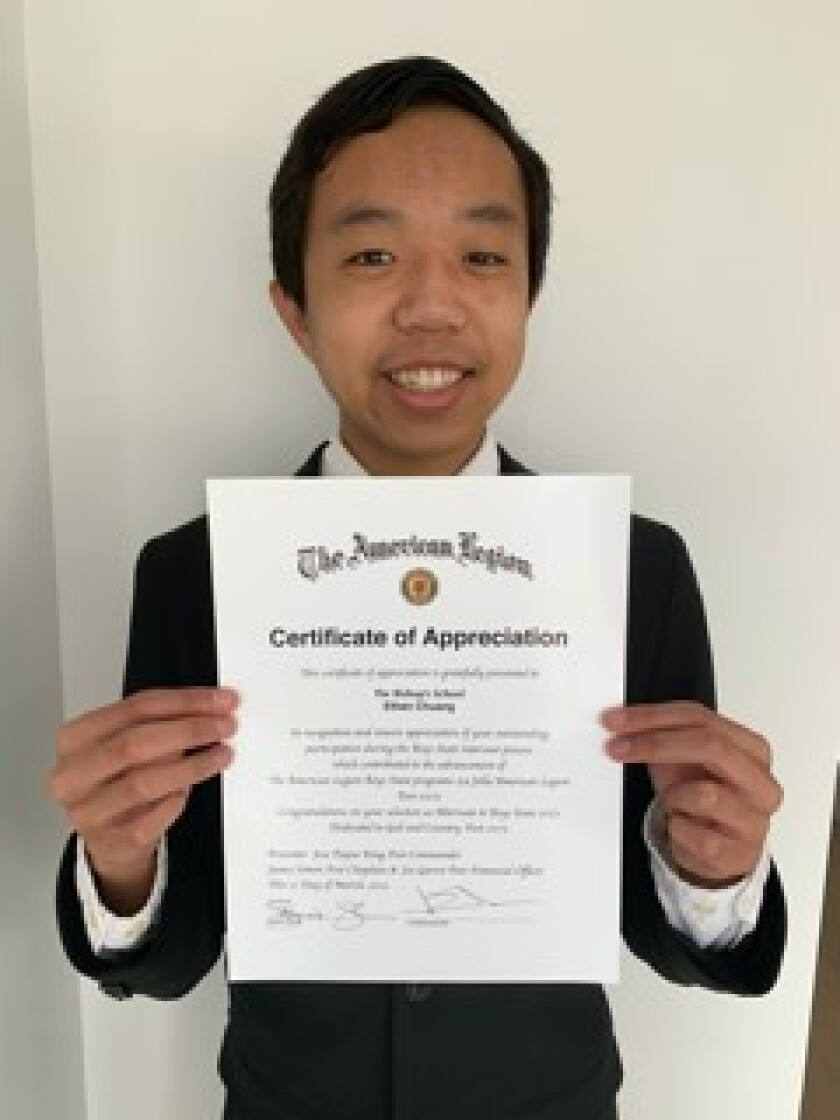 The Bishop's School student Ethan Chuang will join seven other La Jolla students at the upcoming American Legion Boys State.