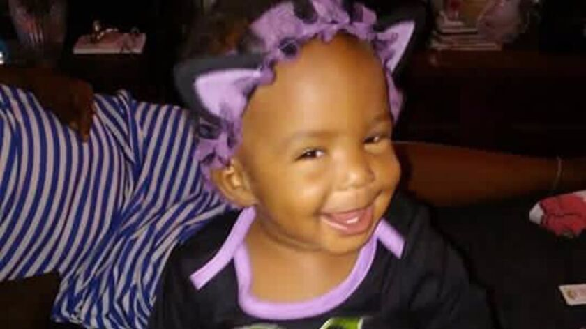 Undated handout photo of Autumn Johnson, a one-year-old that was shot and killed as she lay in her c