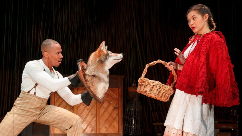 """Lisa Helmi Johanson, right, as Little Red Ridinghood in the Fiasco Theatre production of """"Into the W"""