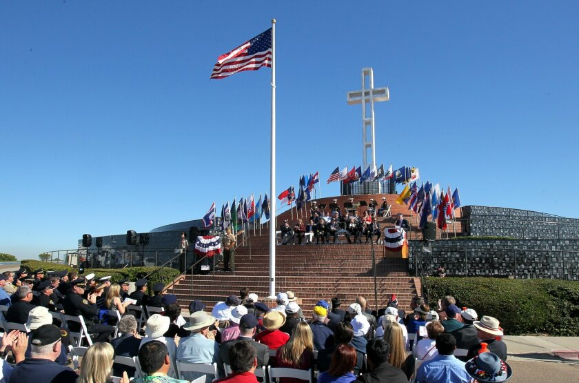 Overall view of the Veteran's Ceremony at the Mt. Soledad Veterans Memorial.