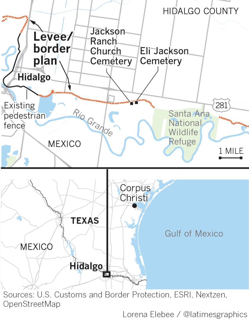 Cemeteries south of planned border barrier.