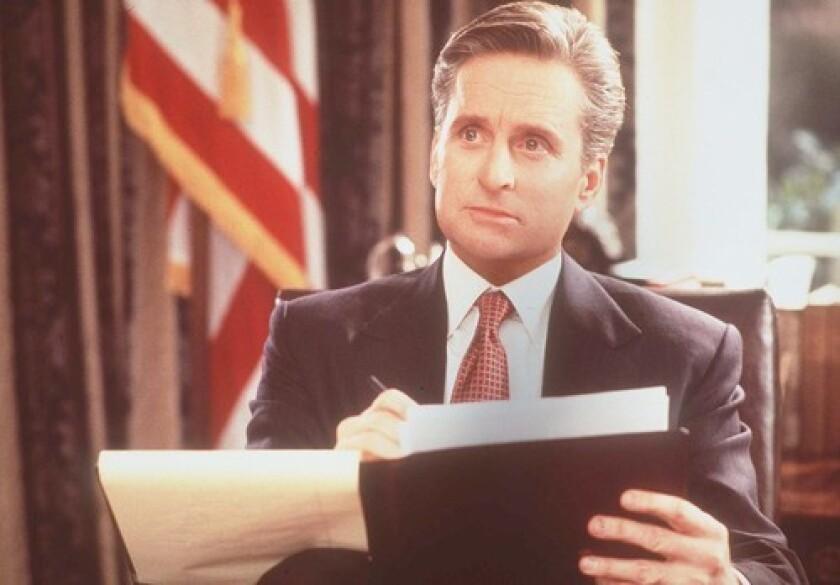 "Michael Douglas plays President Andrew Shepherd in ""The American President."""