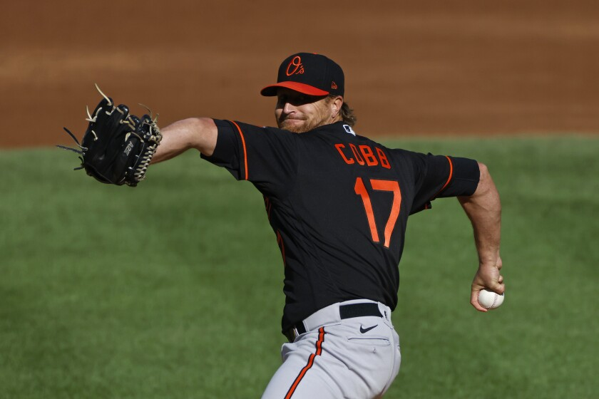 The Baltimore Orioles' Alex Cobb delivers a pitch against the New York Yankees in September 2020.
