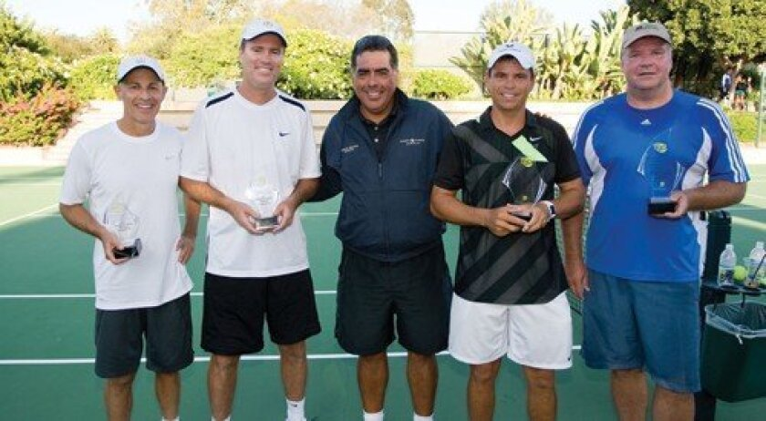 Doubles Open Division runners-up Russell Geyser, amateur; Rick Leach, pro; Eduardo Sanchez, SES founder/head tennis pro at Rancho Valencia Resort & Spa; and 2011 Doubles Open Division champions Arturo Navarro, pro, and Patrick Rost, amateur (Photo: Daniel Knighton)