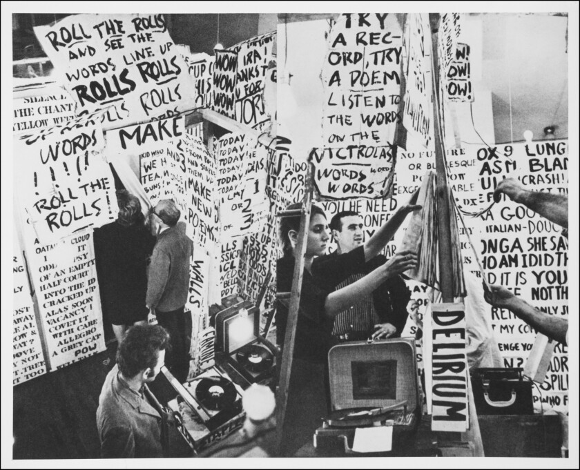 """Detail of a photograph by Robert McElroy of artist Allan Kaprow's """"Words,"""" at the Smolin Gallery in New York in 1962."""