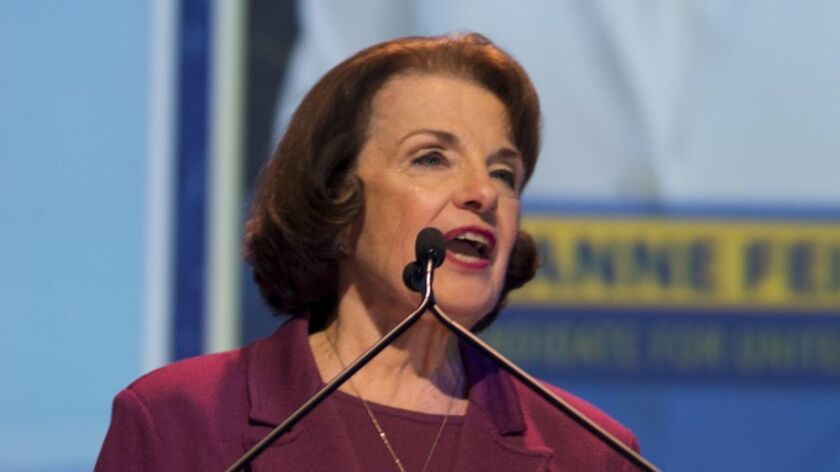 Sen. Dianne Feinstein speaks at the 2018 California Democrats State Convention in San Diego.