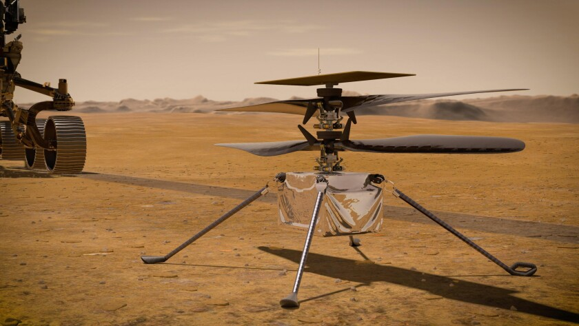NASA Ingenuity Mars Helicopter on the red planet's surface near the Perseverance rover, left.