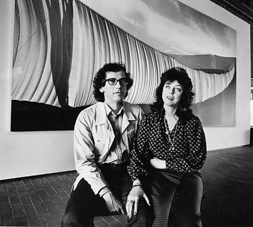 "Christo and Jeanne-Claude with their ""Running Fence"" exhibition at the Newport Harbor Art Museum in 1980."