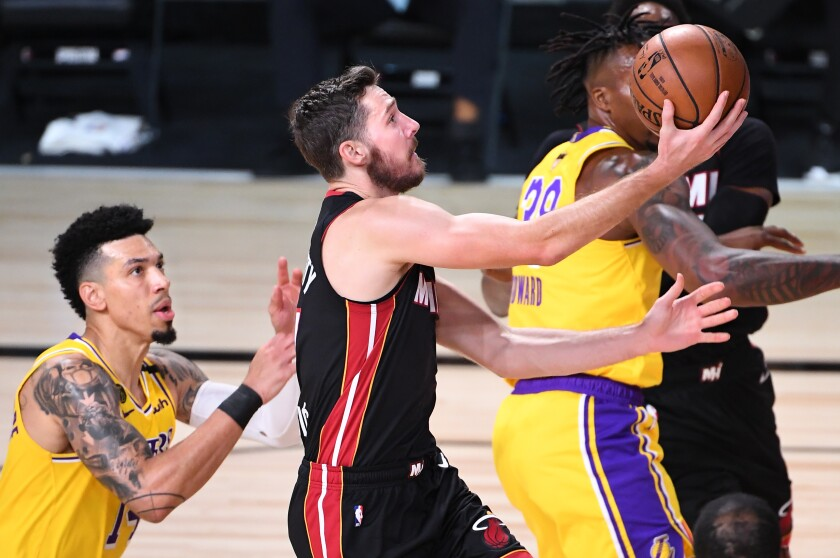 Heat guard Goran Dragic drives to the basket against Lakers during Game 1 of the NBA Finals.