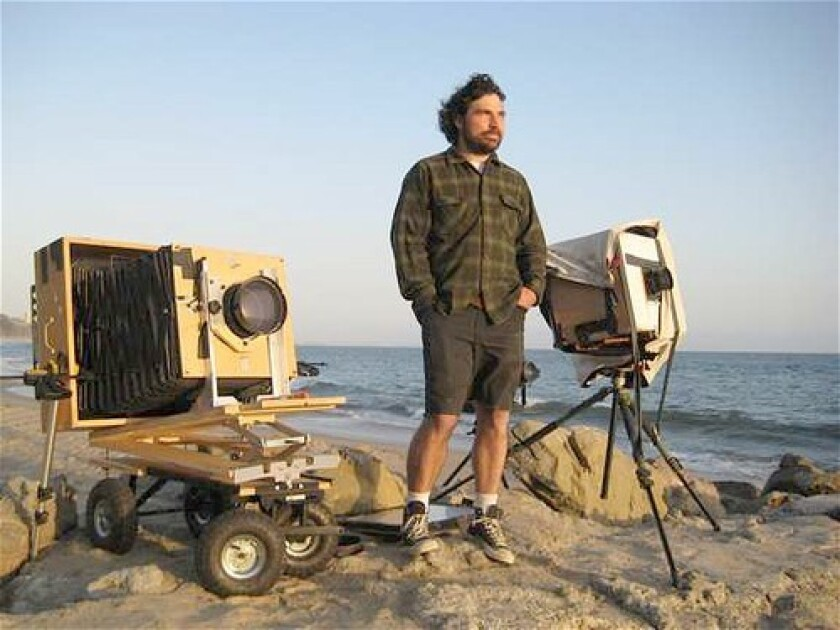 Photographer Chris McCaw's with his cameras, in Santa Monica.