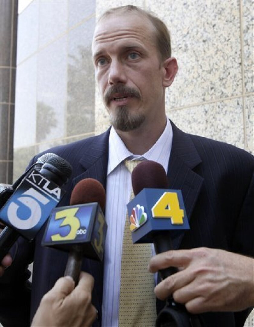 Scott Wippert, attorney for murder defendant Brandon McInerney speaks to media outside court Tuesday July 5, 2011 in Chatsworth, Calif. McInerney, 17, is being tried as an adult for the February 2008 slaying of 15-year-old Larry King at E.O Green Junior High School in Oxnard. The case was moved to Los Angeles County for trial after many delays. (AP Photo/Nick Ut)
