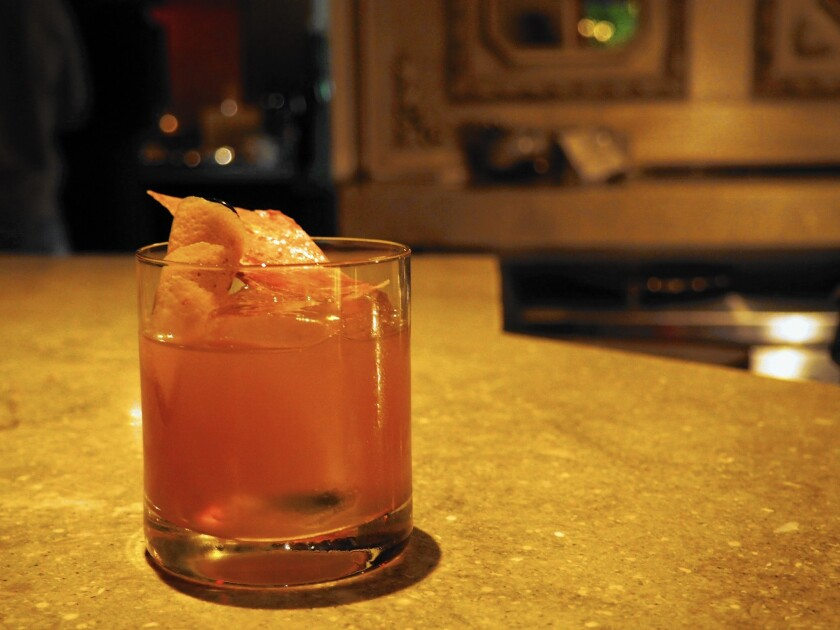 In Fashioned cocktail at Hatchet Hall's Old Man Bar