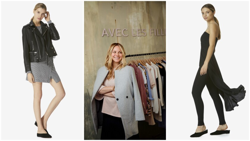 Joyce Azria, center, created her new fashion label, Avec les Filles, which sells a leather moto jacket, $595, and jersey wrap dress, $68, left, and a skirt-over-pant jumpsuit, $118, right.
