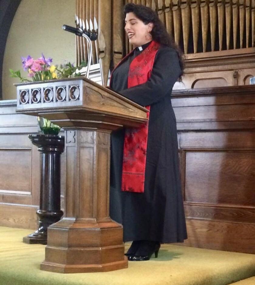 Elena Rose Vera, executive director of Trans Lifeline, at her ordination ceremony in 2016.
