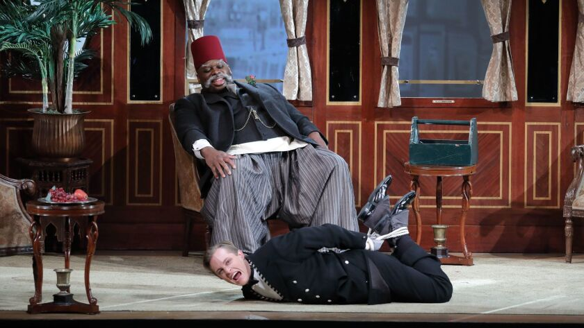 "Morris Robinson and Brenton Ryan in L.A. Opera's ""The Abduction From the Seraglio."""